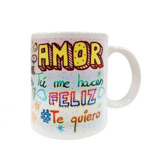 "taza cerámica ""amor tu me haces feliz"""